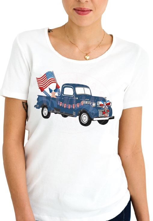 Blue Patriotic Truck Vinyl Heat Transfer