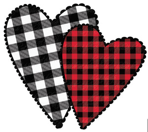 Buffalo Plaid Hearts Heat Transfer