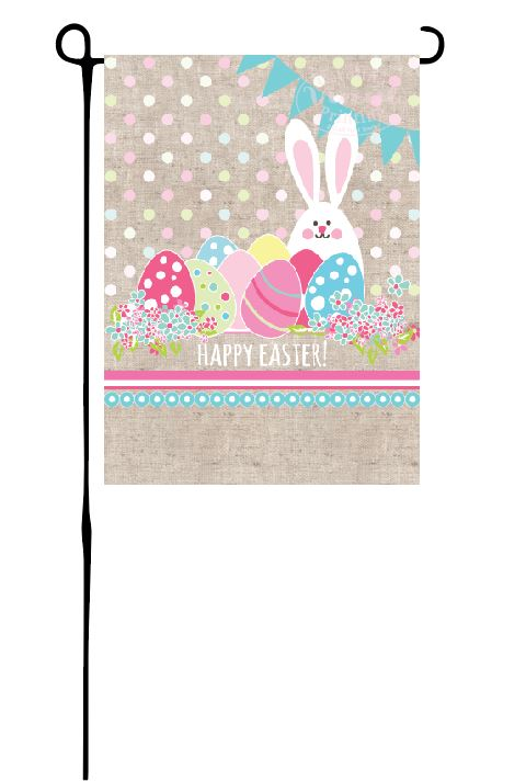 Easter Bunny with Eggs Garden Flag