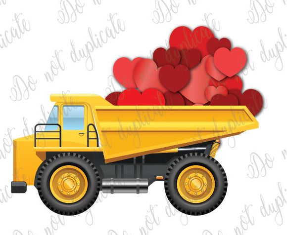 Red Dump Truck Iron-On T-Shirt Transfer w//FREE Personalization