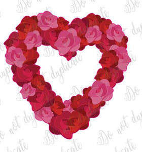 Rose Heart Wreath Heat Transfer