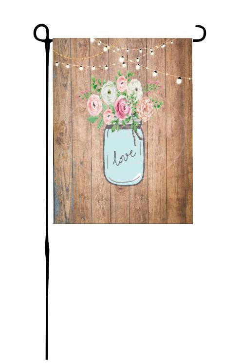 Love Jar with flowers Garden Flag