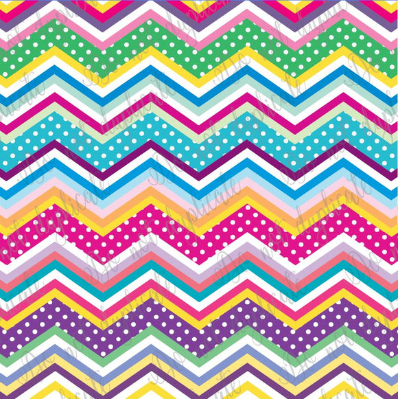Multi Color Polka Dot Chevron Printed Vinyl