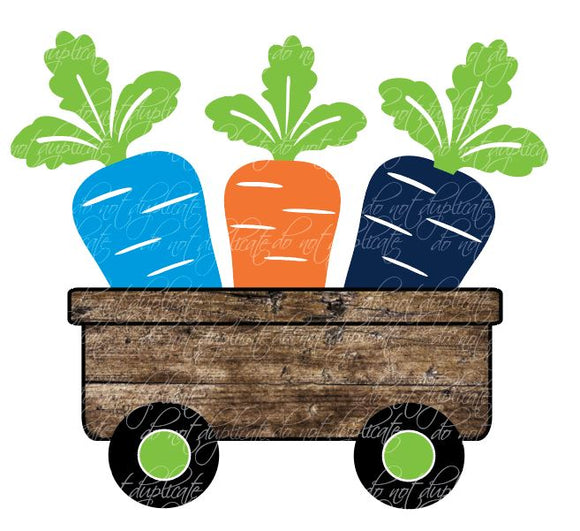 Orange, Navy & Blue Carrots in Wagon Heat Transfer
