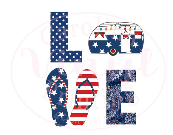 Patriotic LOVE camper Vinyl Heat Transfer