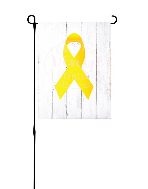 Yellow Ribbon on white wood*Garden Flag