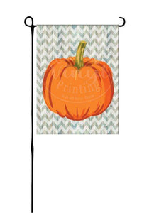 Pumpkin on wood chevron