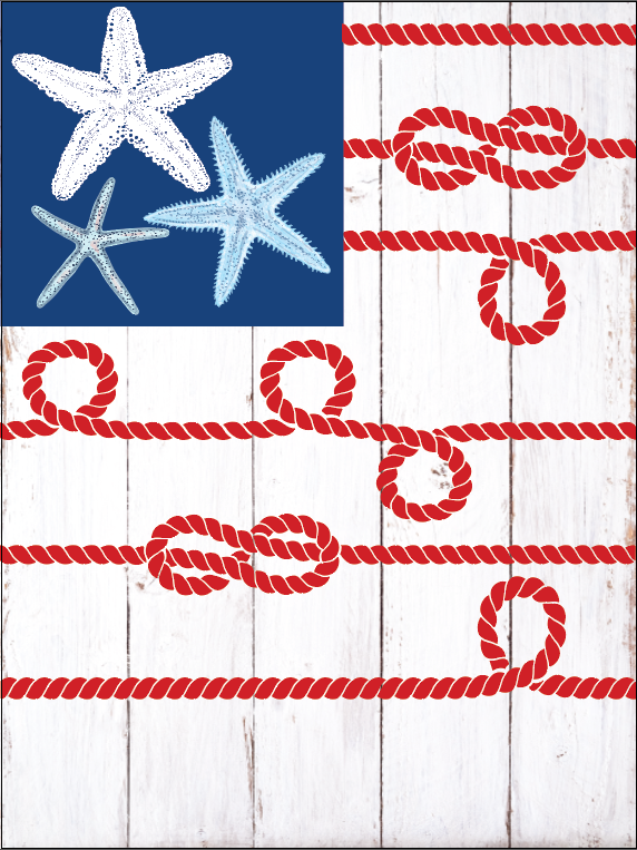 Starfish & Rope American Flag Garden Flag