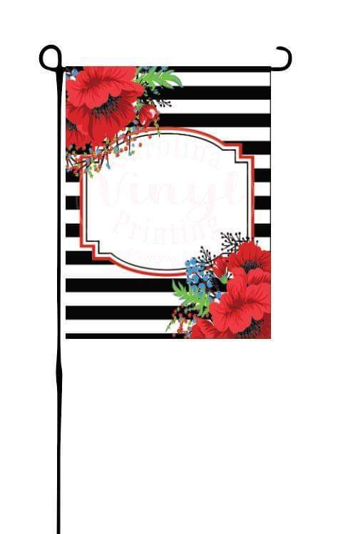 Poppies & StripesGarden Flag