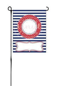 Navy & red Stripes and dots Garden Flag
