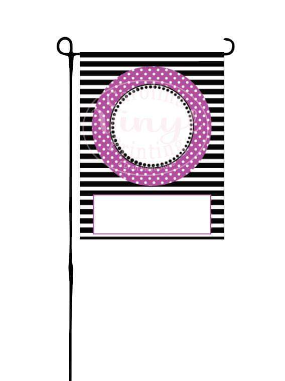 Purple, Black & White stripes & dots Garden Flag