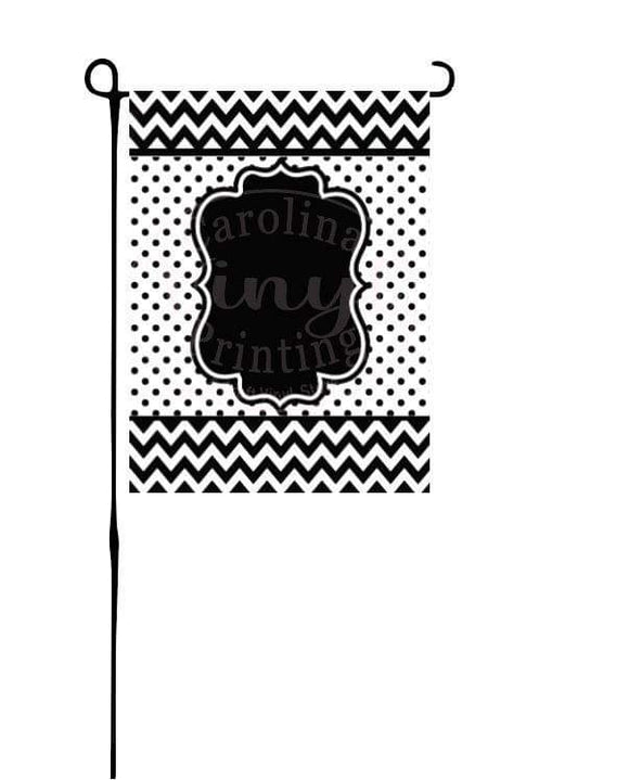Black & White Chevron Garden Flag