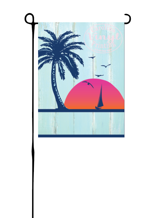 Palm Tree and Sailboat Garden Flag