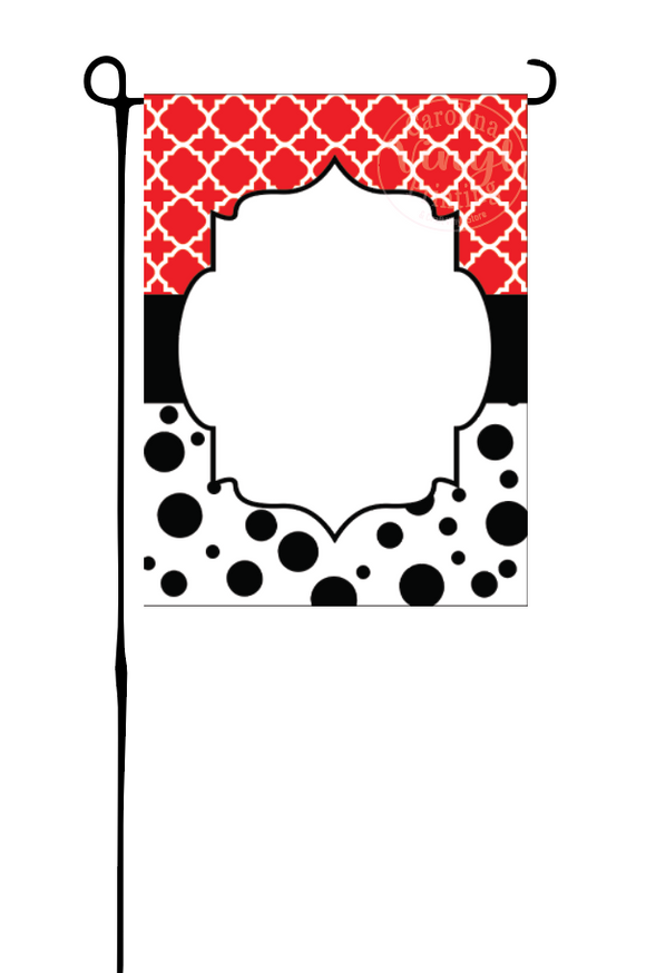Red Quatrefoil & polka dots Garden Flag