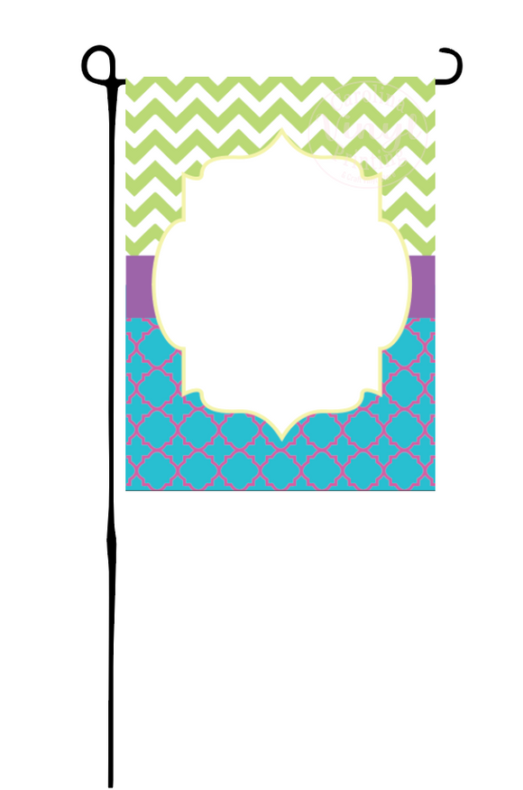 Aqua & Purple Quatrefoil & Green Chevron Garden Flag
