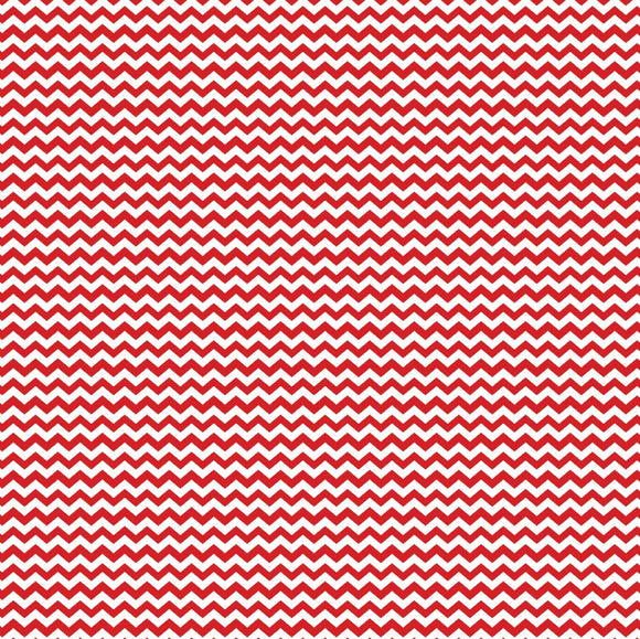 Red & White Mini Chevron Printed Vinyl