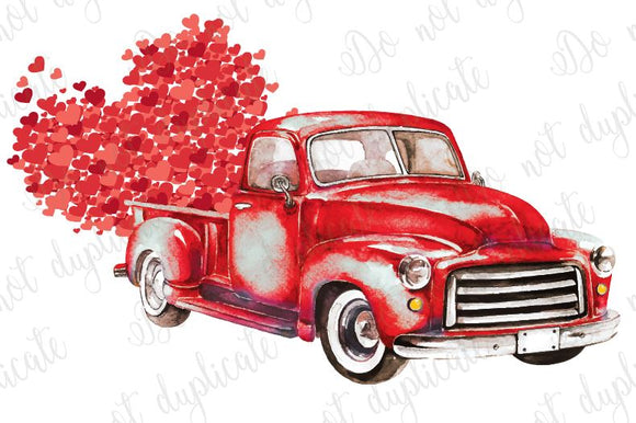 Vintage Truck with Hearts Heat Transfer