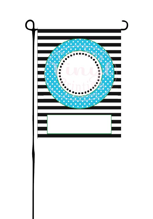 Turquoise Circle with Black Stripes Garden Flag