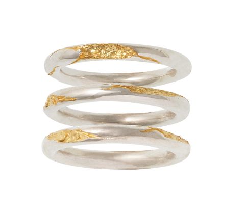 cracked gold ring set