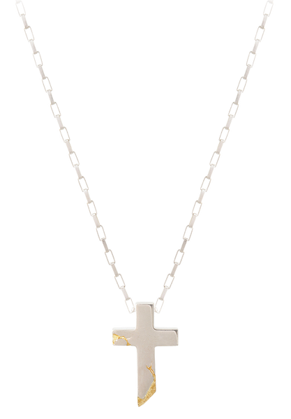 cracked gold cross necklace