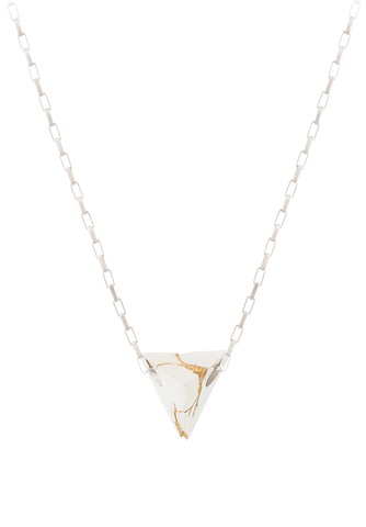 cracked gold pyramid necklace