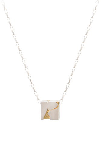 cracked gold cube necklace