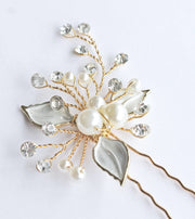 Leaf and Pearl Hairpins