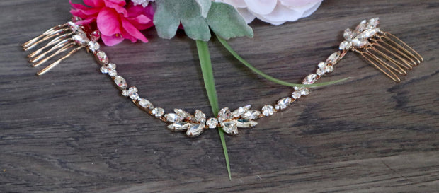 Crystal Rose Gold Bridal Comb