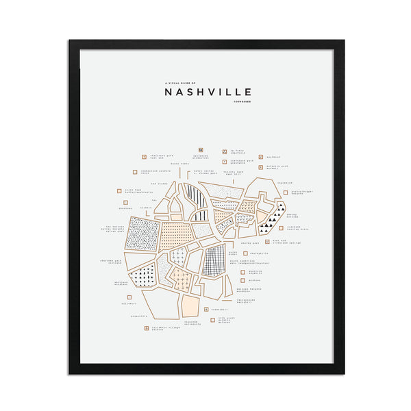 Nashville Map Print - Black Frame
