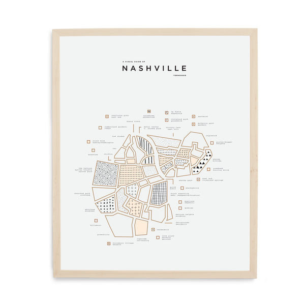 Nashville Map Print - Wood Frame