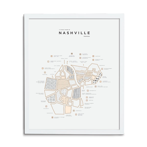 Nashville Map Print - White Frame