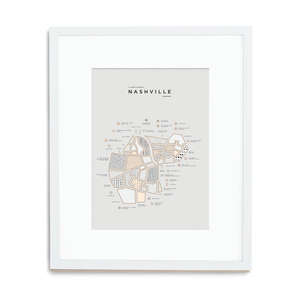 Nashville Map Print - White Frame With Mat