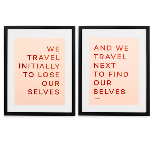 Travel Quote Letterpress Print - Black Frame With Mat