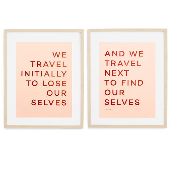 Travel Quote Letterpress Print - Wood Frame WIth Mat