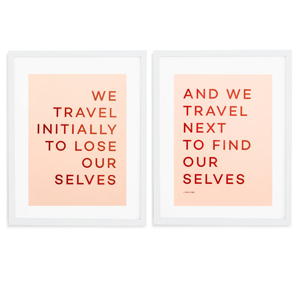 Travel Quote Letterpress Print - White Frame WIth Mat