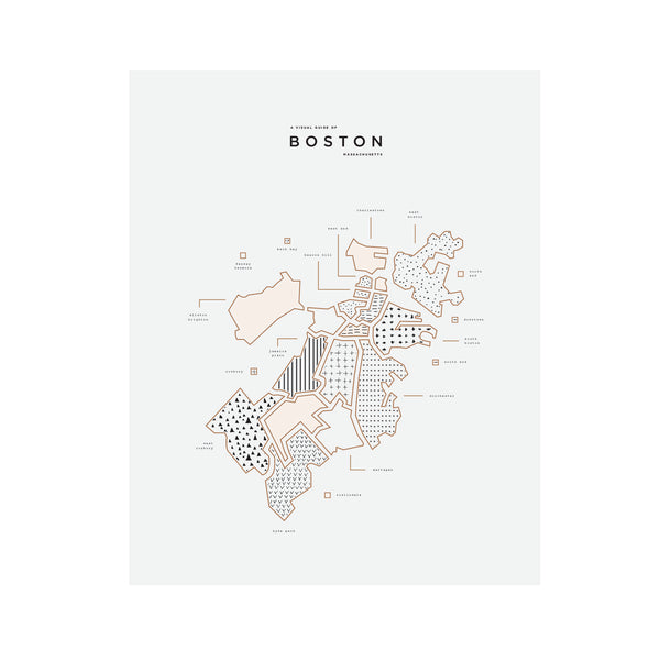 Boston Massachusetts Letterpress Print