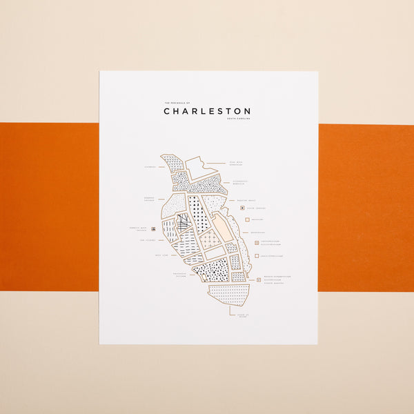 Charleston Letterpress Map Print