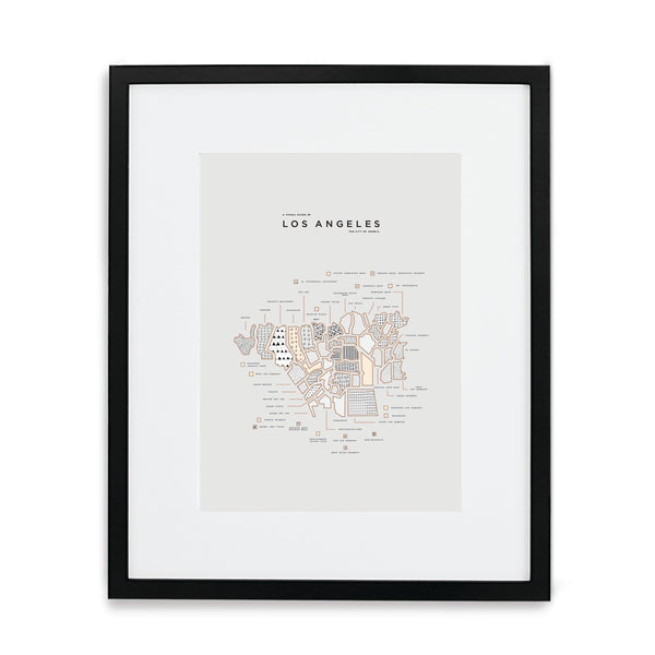 Los Angeles Map Print - Black Frame With Mat