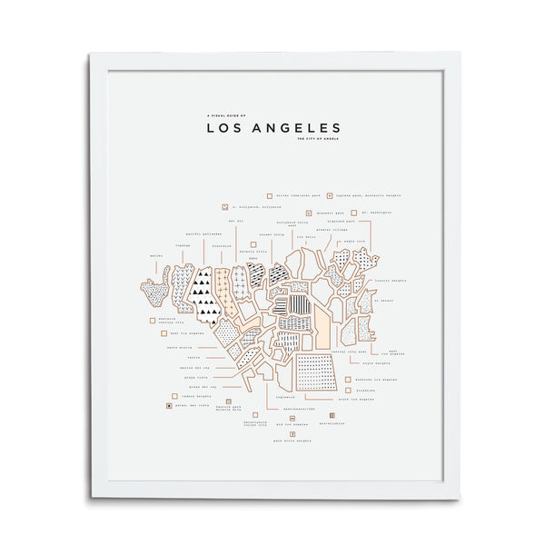 Los Angeles Map Print - White Frame