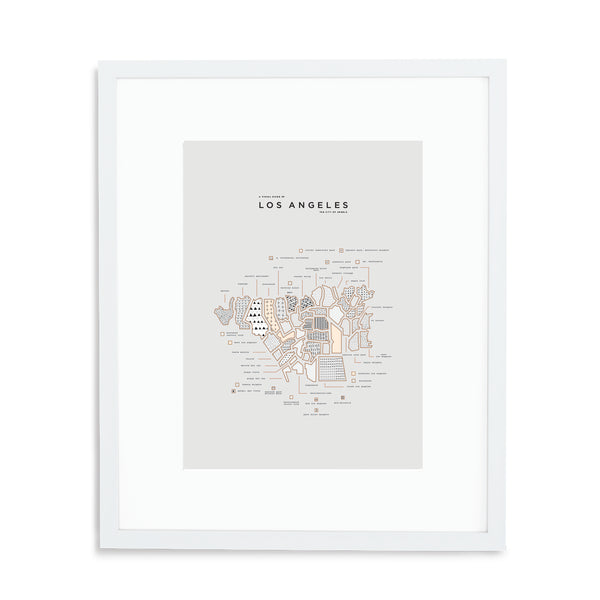 Los Angeles Map Print - White Frame With Mat