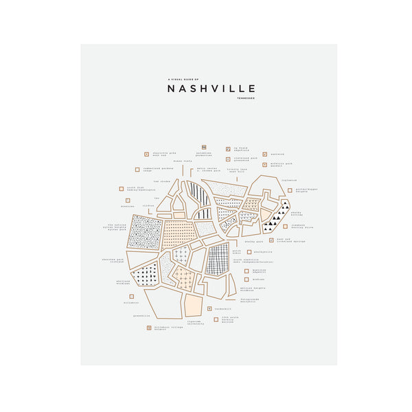 Nashville City Letterpress Print