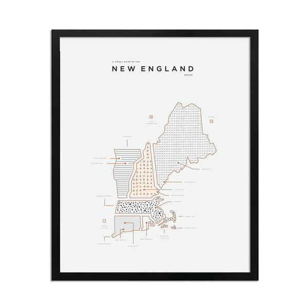 New England Map Print - Black Frame
