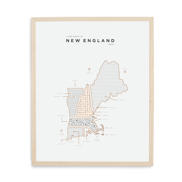 New England Map Print - Wood Frame