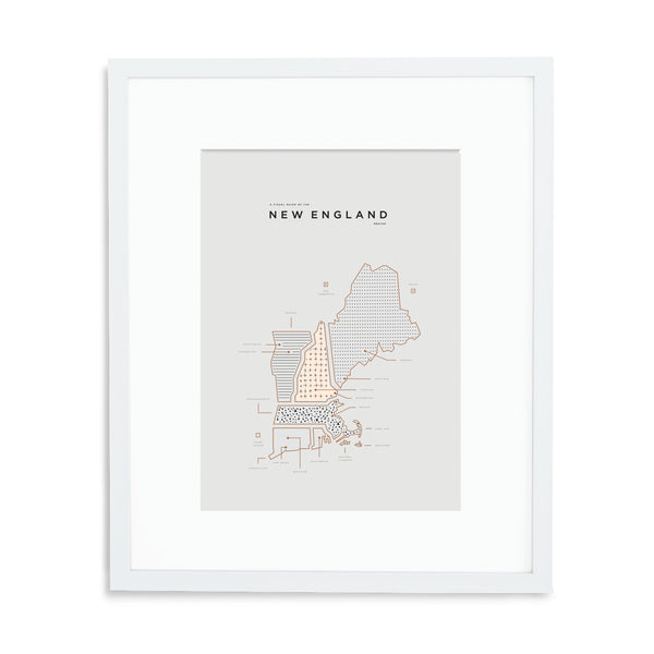 New England Map Print - White Frame With Mat