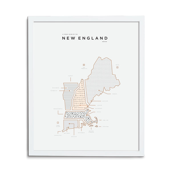 New England Map Print - White Frame
