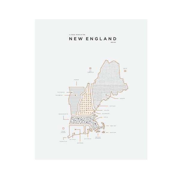 New England Area Map Print