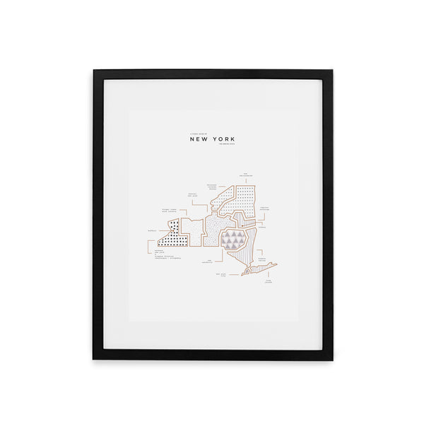 New York Map Print - Black Frame With Mat