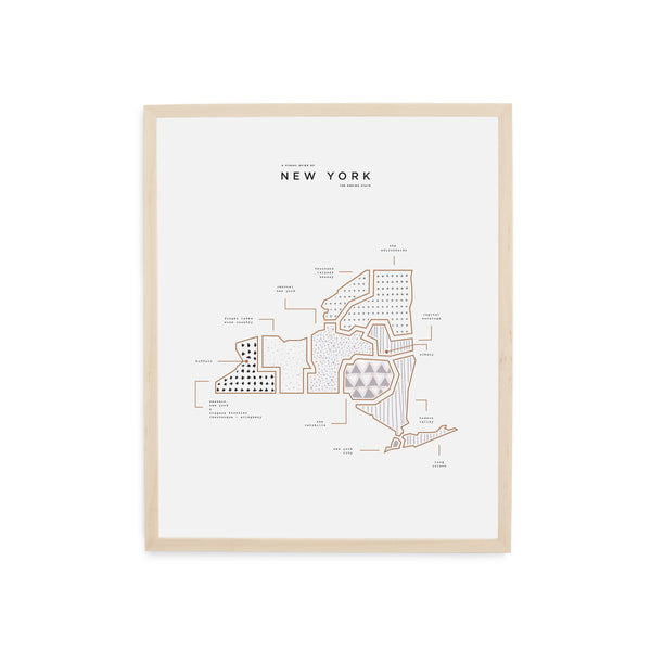 New York Map Print - Wood Frame