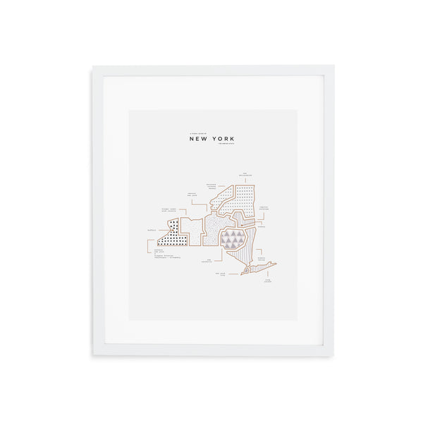 New York Map Print - White Frame With Mat