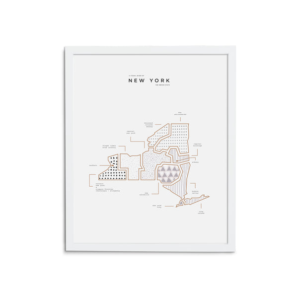 New York Map Print - White Frame